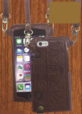 ピーナッツ iPhone6対応レザーケース(ネックストラップ付き) 型押しタイプ(SNG-100B)[グルマンディーズ]《在庫切れ》