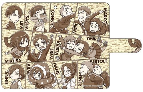 進撃!巨人中学校 手帳型スマホケース コミック風M[アクアマリン]《取り寄せ※暫定》