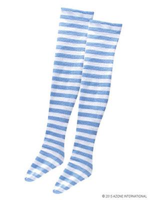 48cm/50cm用 50アリスボーダーニーソックス ブルー×ホワイト(ドール用衣装)[アゾン]《取り寄せ※暫定》