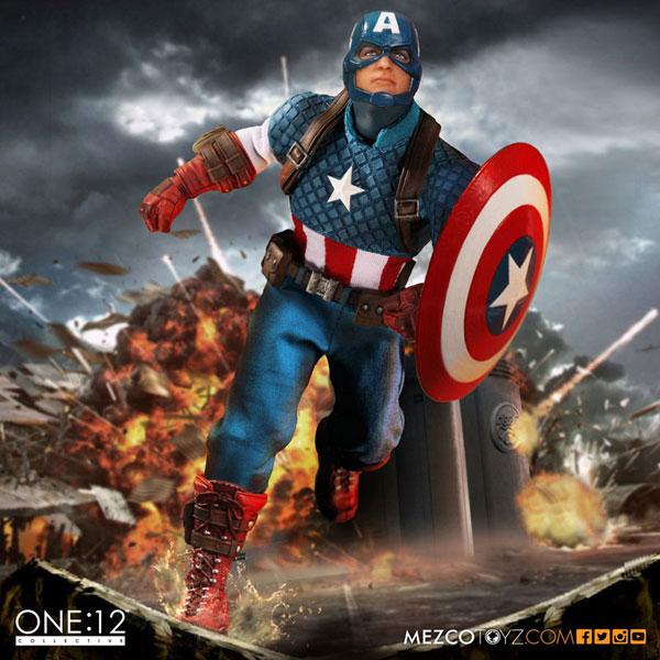 ONE:12 コレクティブル マーベル・ユニバース キャプテン・アメリカ:1/12 アクションフィギュア[メズコ]【送料無料】《在庫切れ》