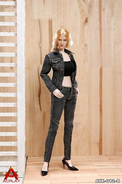 1/6 女性 デニム服セットB(ブラック)(ATX-012B) (ドール用衣装)