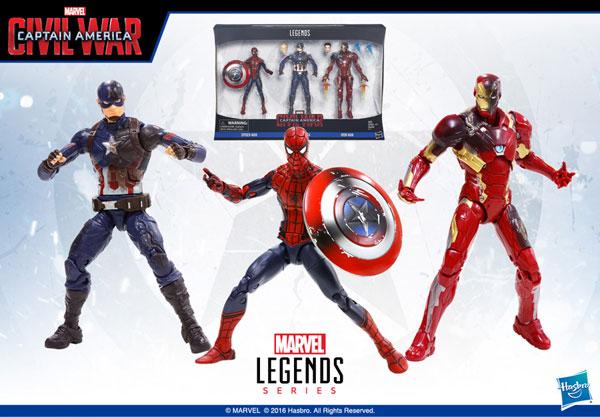 シビル・ウォー/キャプテン・アメリカ 6インチ レジェンド 3パック キャプテンアメリカ&スパイダーマン&アイアンマンマーク46