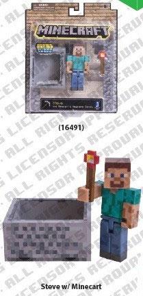 マインクラフト アクションフィギュア スティーブとマインカート
