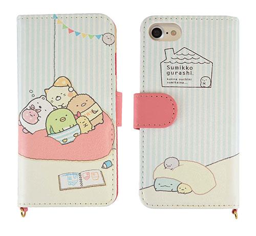 すみっコぐらし iPhone7対応 フリップカバー おやすみ (SMK-24B)[グルマンディーズ]《在庫切れ》