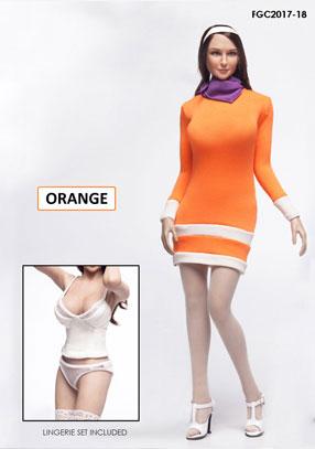 1/6 フィメール キャラクターセット ミステリーガール ドレス オレンジ(ドール用衣装)[FLIRTY GIRL]《在庫切れ》
