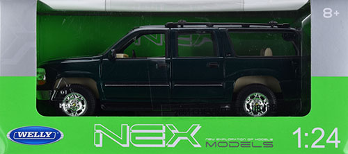 dark green Welly Auto Modell 1:24 2001 Chevrolet Suburban