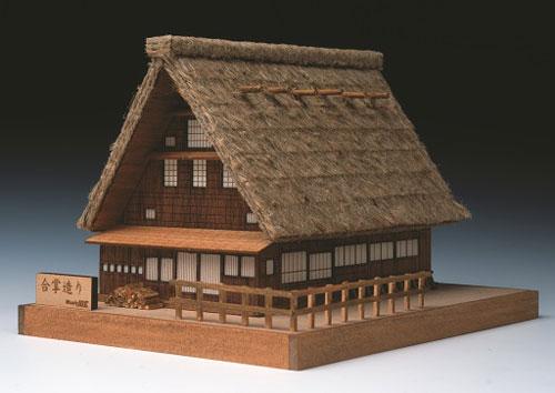 木製模型 ミニ建築 No.1 合掌造り[ウッディジョー]《在庫切れ》