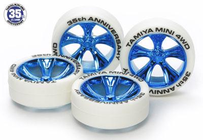 ミニ四駆限定 ミニ四駆35周年記念 ホワイトタイヤ&ブルーメッキAスポークホイール[タミヤ]《在庫切れ》
