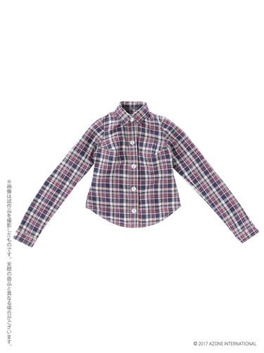 48cm/50cm用 AZO2チェックシャツ ブルーチェック (ドール用)[アゾン]《発売済・在庫品》
