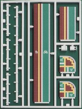 2540 着色済みストラクチャー 舗道(レッド+グリーン・自転車用道路標識付き)(再販)[グリーンマックス]《在庫切れ》
