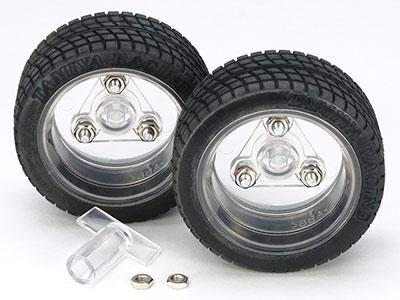 楽しい工作シリーズ 特別企画商品 スポーツタイヤセット (56mm径 クリヤーホイール仕様)[タミヤ]《在庫切れ》