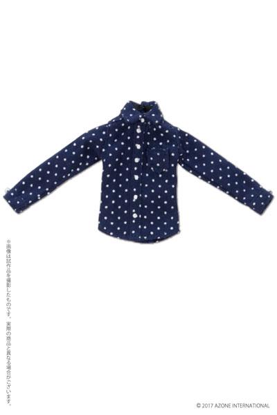 ピコニーモ用 1/12 長袖シャツ ネイビー×ホワイトドット (ドール用)[アゾン]《取り寄せ※暫定》