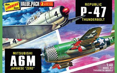 1/48 WW.II 日本海軍 A6M 零式艦上戦闘機 &アメリカ陸軍 P-47 サンダーボルト 2機セット プラモデル[リンドバーグ]《在庫切れ》