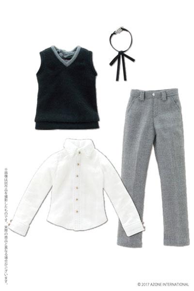 ピュアニーモ用ウェア PNXS 男の子ニットベスト制服セット ブラック×グレー (ドール用)[アゾン]《発売済・在庫品》