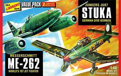 1/48 WW.II ドイツ軍 ユンカース JU87 スツーカ&メッサーシュミット ME262 バリューセット プラモデル[リンドバーグ]《在庫切れ》