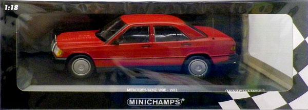 1/18 メルセデス ベンツ 190E (W201) 1982 レッド[ミニチャンプス]《在庫切れ》