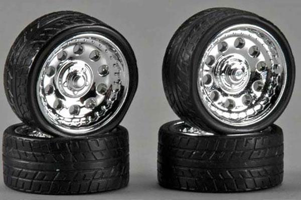 1/24 23インチ マグネシウム ホイール クロームメッキ仕様 タイヤ付4本セット[ペガサスホビー]《取り寄せ※暫定》
