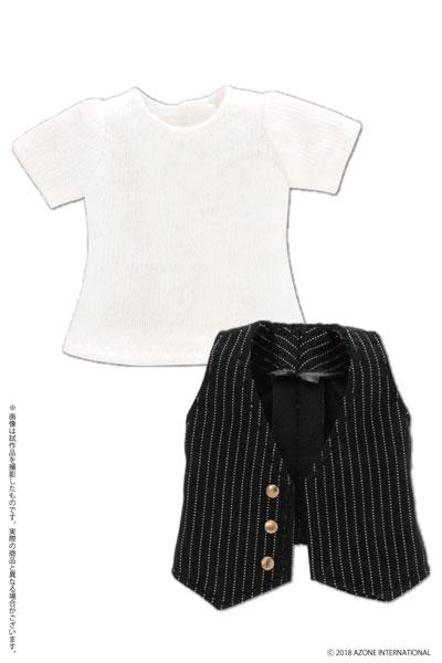 ピコニーモ用 1/12 Tシャツ&ジレセット ブラック×ホワイトストライプ (ドール用)