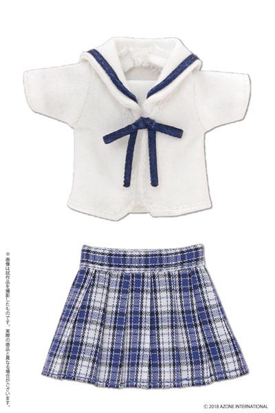 ピコニーモ用 1/12 白襟チェックセーラー服セット ブルーチェック (ドール用)[アゾン]《取り寄せ※暫定》