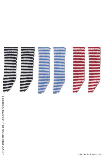 ピコニーモ用 1/12 ピコDボーダーソックスBセット ホワイト×ネイビー、ホワイト×ライトブルー、ホワイト×レッド (ドール用)[アゾン]《発売済・在庫品》