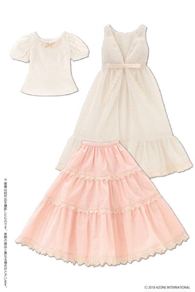 48cm/50cm用 AZO2 Early summer ドレスセット ベージュ×ピンク (ドール用)[アゾン]《発売済・在庫品》