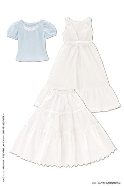48cm/50cm用 AZO2 Early summer ドレスセット ホワイト×ライトブルー (ドール用)[アゾン]《発売済・在庫品》