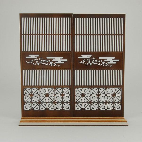 木製組立キット 和の造作 1/12 和柄つき格子戸2[コバアニ模型工房]《在庫切れ》