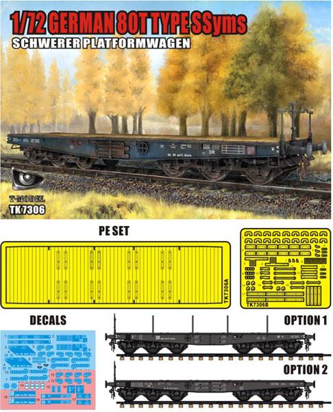 1/72 ドイツ軍 重平貨車 SSyms タイプ 80t プラモデル[ティーモデル]《08月予約※暫定》