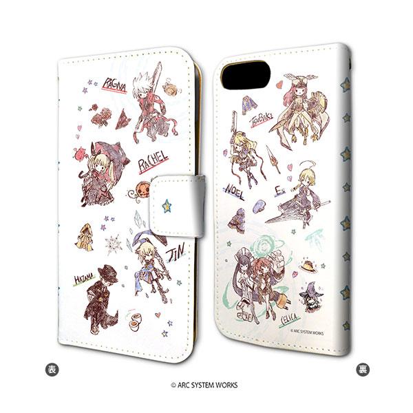手帳型スマホケース(iPhone6/6s/7/8兼用)「BLAZBLUEシリーズ」01/ちりばめデザイン(グラフアート)[A3]《在庫切れ》