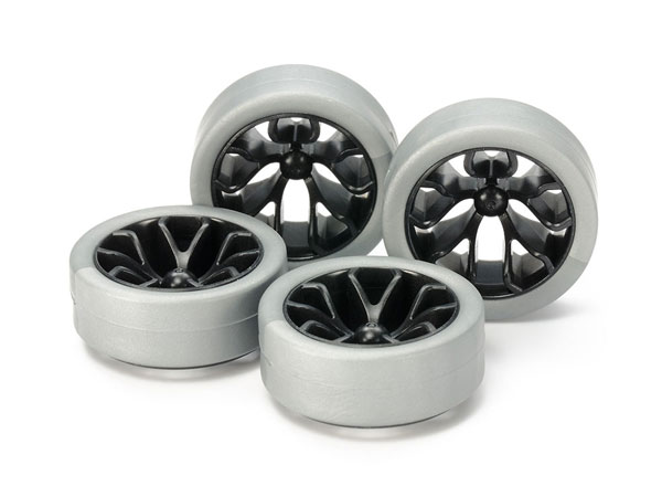 ミニ四駆特別企画 ハードローハイトタイヤ (シルバー) & カーボン強化ホイール (Y スポーク)[タミヤ]《在庫切れ》