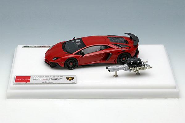1/43 ランボルギーニ アヴェンタドール LP750-4 SV 2015 with Engine メタリックレッド (ラージブラックSVロゴ)[メイクアップ]【送料無料】《在庫切れ》