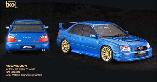 1/18 スバル インプレッサ WRX STI TUNE S9 SPECS 2003 メタリックブルー/ゴールドホイール[イクソモデル]《在庫切れ》