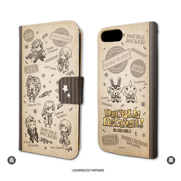 手帳型スマホケース(iPhone6/6s/7/8兼用)「DOUBLE DECKER! ダグ&キリル」01/ちりばめデザイン ブラウン(グラフアート)[A3]《在庫切れ》