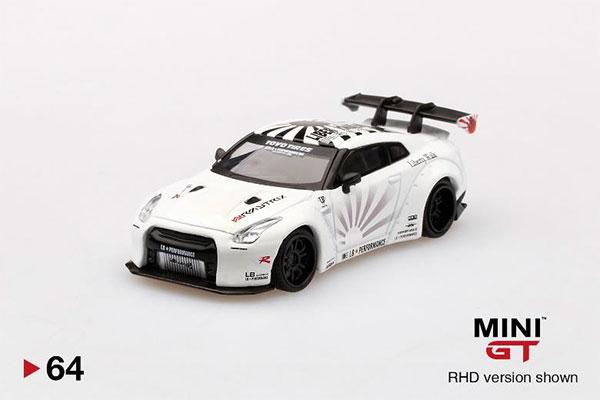 1/64 LB★WORKS Nissan GT-R R35 タイプ1 リアウイング バージョン 1+2 ホワイト (右ハンドル)[MINI GT]《08月予約》
