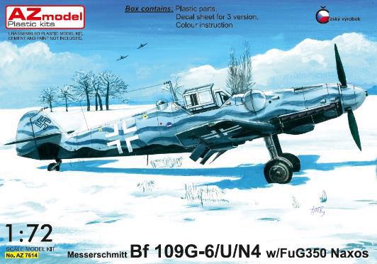 1/72 Bf109G-6/U/N4 夜間戦闘機w/ FuG350 Naxos レーダー探知機 プラモデル[AZ Model]《08月予約※暫定》