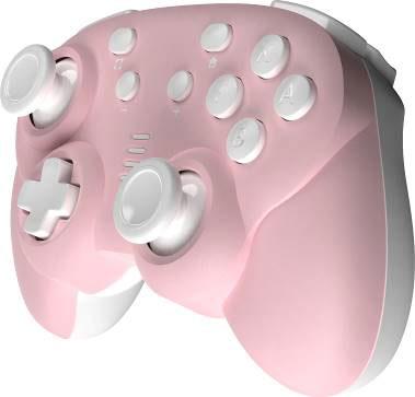 ジャイロコントローラー ミニ 無線タイプ ピンク×ホワイト (Switch用)[サイバーガジェット]《在庫切れ》