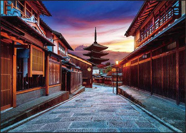 ジグソーパズル 夕映えの八坂通(京都) 500ピース(05-1025)[やのまん]《在庫切れ》