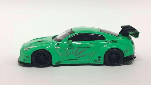 1/64 LB★WORKS Nissan GT-R R35 タイプ1 リアウイングバージョン 1 ライトグリーン フィリピン限定[MINI GT]《発売済・在庫品》