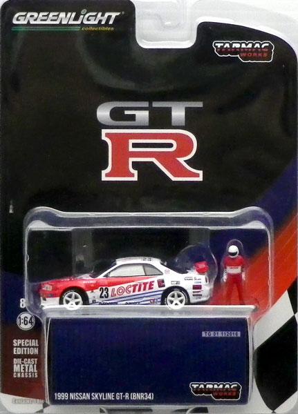 1/64 Nissan Skyline GT-R R34 Loctite 1999 ※レーシングドライバー フィギュア 1体 付属[グリーンライト/Tarmac Works]《在庫切れ》