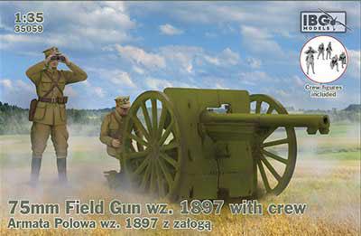 1/35 ポ・75mmシュナイダーM1897野砲+ポーランド砲兵5体 プラモデル[IBG]《03月予約》