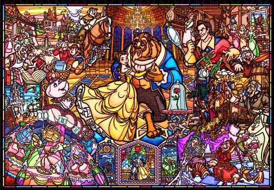 ジグソーパズル 美女と野獣 ストーリー ステンドグラス ピュアホワイト 1000ピース (DP1000-035)[テンヨー]《在庫切れ》
