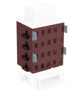 2608 着色済み ストラクチャーキット ビジネスビル(ブラウン) 増設4階分[グリーンマックス]《発売済・在庫品》