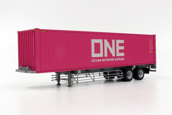 1/50 40フィート海上コンテナ ONE(Ocean Network Express) & 日本トレクス 専用運搬セミトレーラ[ケンクラフト]《在庫切れ》