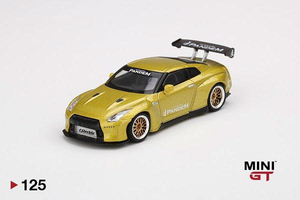 1/64 Pandem Nissan GT-R R35 GTウィング コスモポリタンイエロー(左ハンドル)[MINI GT]《08月予約》
