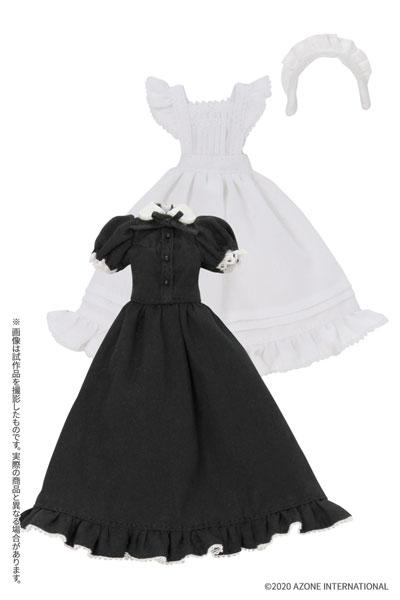 ピコニーモ用 1/12 クラシカルロングメイド服(半袖)セットブラック (ドール用)[アゾン]《在庫切れ》
