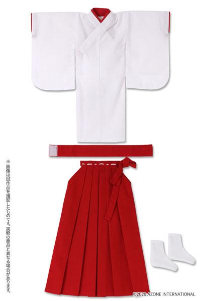1/3スケール用 45 ロング丈巫女服セット ホワイト×レッド (ドール用)[アゾン]《在庫切れ》