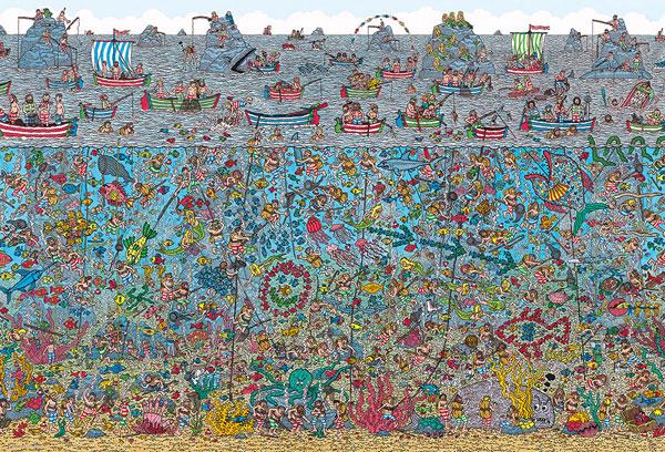 ジグソーパズル Where's Wally? 深海のダイバー 2000スモールピース (S92-504)[ビバリー]《在庫切れ》