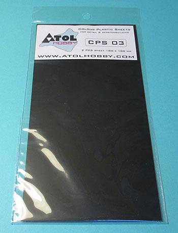 0.3mm プラ板 (黒) 180×100mm 2枚入り(再販)[アトルホビー]《10月予約》