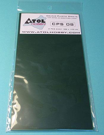 0.8mm プラ板 (緑) 180×100mm 2枚入り(再販)[アトルホビー]《10月予約》