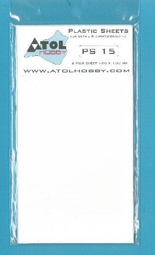 1.5mm プラ板 (白) 180×100mm 2枚入り(再販)[アトルホビー]《10月予約》